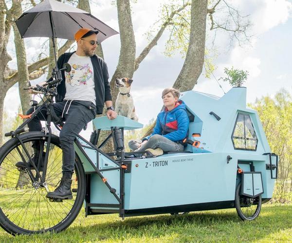 Cận cảnh xe đạp điện 3 bánh có thể linh hoạt biến thành nhà, thuyền di động ảnh 1