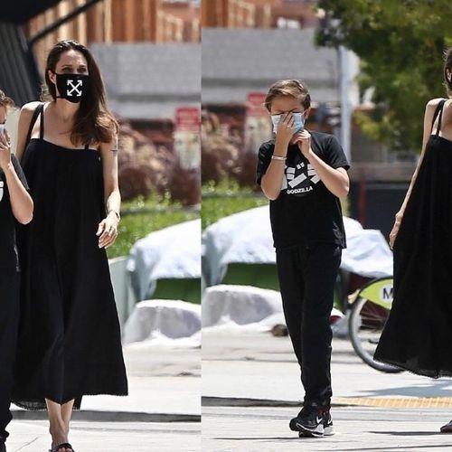 Angelina Jolie diện váy maxi đằm thắm, đeo khẩu trang cool ngầu dạo phố cùng con trai Knox