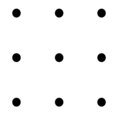 Làm sao nối 9 điểm này chỉ bằng một đường thẳng?