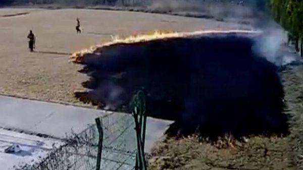Làm thí nghiệm vui, hai cha con đốt cháy cả bãi cỏ 2.000 mét vuông