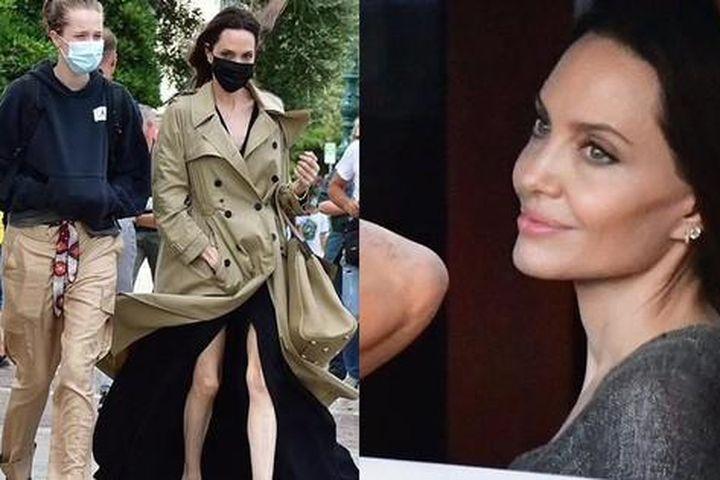 Angelina Jolie bị gió thổi tốc váy, lộ đôi chân gầy guộc đáng lo ngại - Báo Tiền Phong