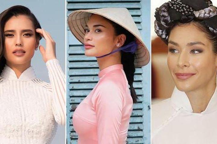 Dàn hoa hậu thế giới đẹp 'bất phân thắng bại' khi khoe sắc với áo dài Việt Nam - Báo Tiền Phong