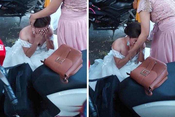 Biết tin bị lừa ngay trong đám cưới, cô dâu ôm mặt khóc nức nở giữa đường - SaoStar