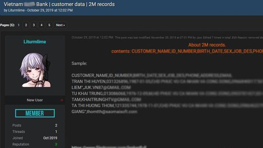 2 triệu dữ liệu ngân hàng của người Việt Nam bị công khai trên mạng?