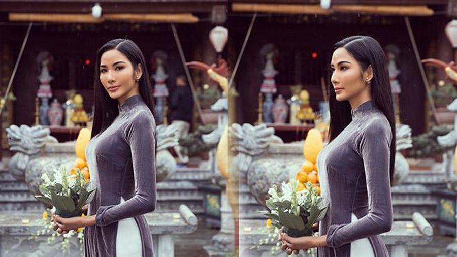 Hoàng Thùy diện áo dài đẹp nền nã, liệu có mang bộ ưng ý nhất diện tại Miss Universe 2019?
