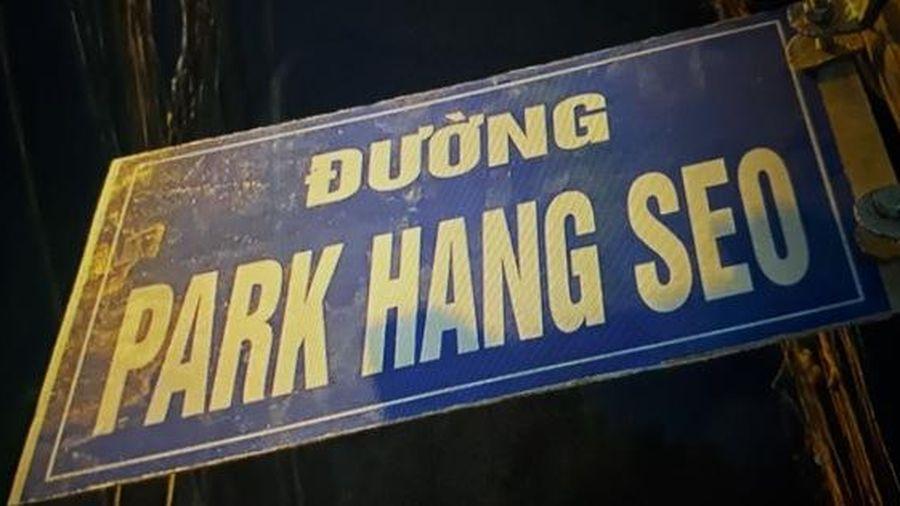 Bảng tên đường 'Park Hang Seo' do người hâm mộ tự gắn đã được tháo dỡ