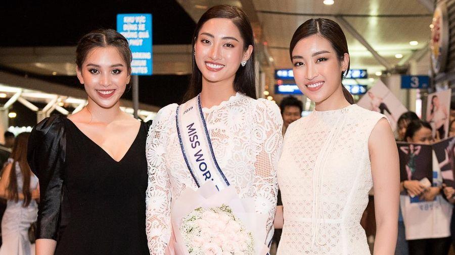 Tiểu Vy, Đỗ Mỹ Linh và dàn người đẹp tiễn Lương Thùy Linh tại sân bay