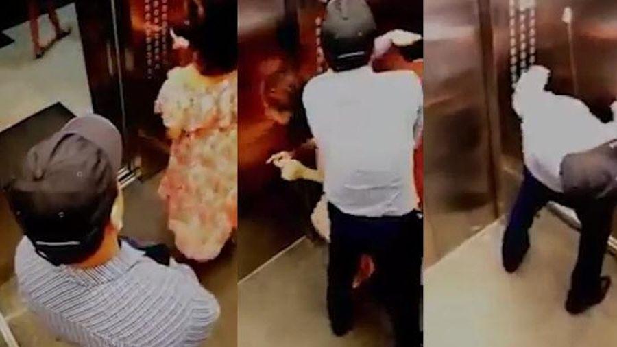 Clip kẻ bệnh hoạn co giật như ma nhập sau khi sàm sỡ cô gái trong thang máy