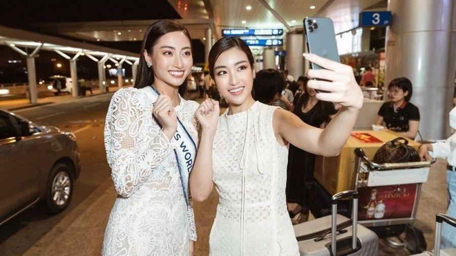 Đỗ Mỹ Linh 'tình thân mến thân' tiễn Lương Thùy Linh đi thi Miss World