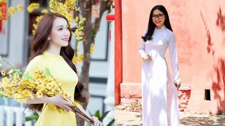 Bạn gái Văn Thanh, Quang Hải đẹp dịu dàng trong tà áo dài Việt Nam