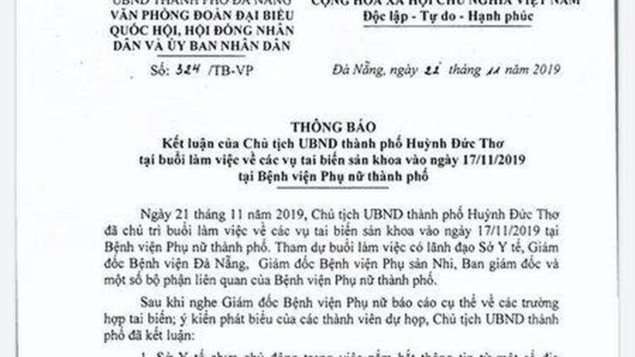 Vụ 2 sản phụ tử vong: Chủ tịch Đà Nẵng yêu cầu sở Y tế tổ chức kiểm điểm