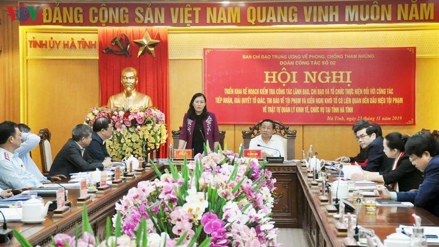 Đoàn công tác Ban chỉ đạo TƯ phòng, chống tham nhũng làm việc với Hà Tĩnh