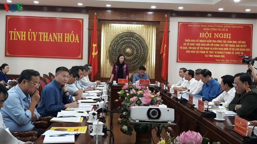Kiểm tra 21 cơ quan của tỉnh Thanh Hóa về phòng, chống tham nhũng