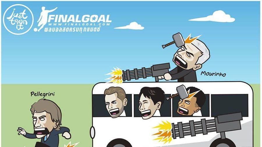 Biếm họa 24h: HLV Mourinho 'truy sát' đồng nghiệp Pellegrini