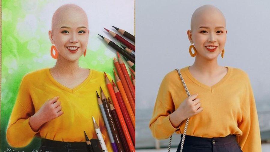 Cô gái bị ung thư hạch vẽ chân dung nữ sinh Ngoại thương mắc ung thư