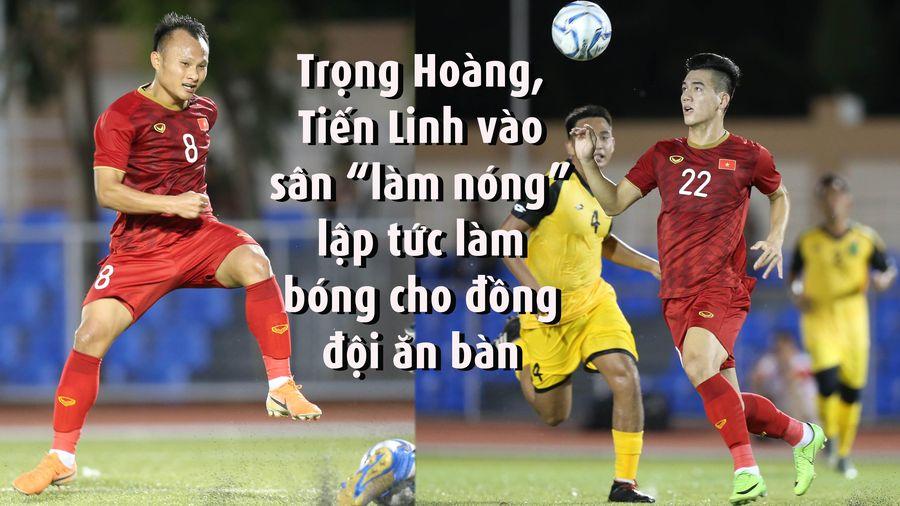 Trọng Hoàng, Tiến Linh vào sân làm bóng giúp đồng đội ghi bàn