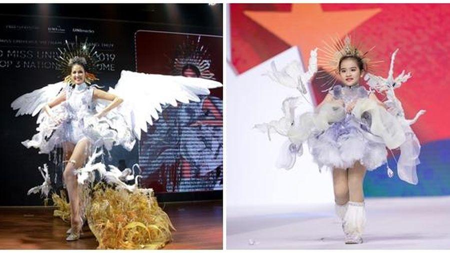 Mẫu nhí hô vang 'Việt Nam' khi mặc bộ trang phục dân tộc được thiết kế cho Hoàng Thùy tại cuộc thi Miss Universe 2019