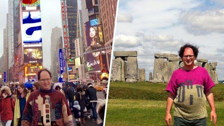 Nghệ nhân đan áo len có họa tiết các điểm du lịch, rồi mặc đi check in tận nơi