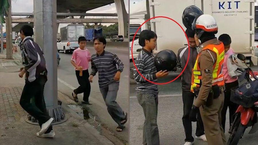 Cảnh sát bắt tài xế chạy quanh cột đèn vì không đội mũ bảo hiểm