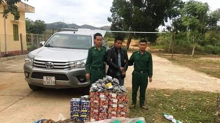 Bắt giữ đối tượng vận chuyển hàng trăm kg pháo lậu và động vật hoang dã