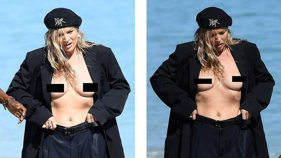 Kate Moss vô tư phơi ngực trần trong buổi chụp hình cho Dior