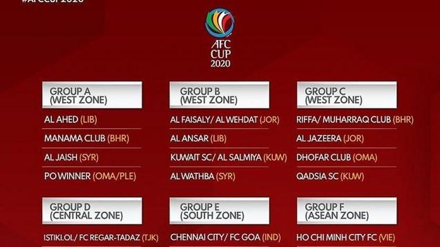 Kết quả bốc thăm chia bảng AFC Cup 2020