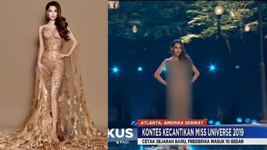 Hoa hậu Indoneisa bị che mờ toàn thân trên truyền hình quốc gia vì bộ váy bị cho là phản cảm ở CK Miss Universe