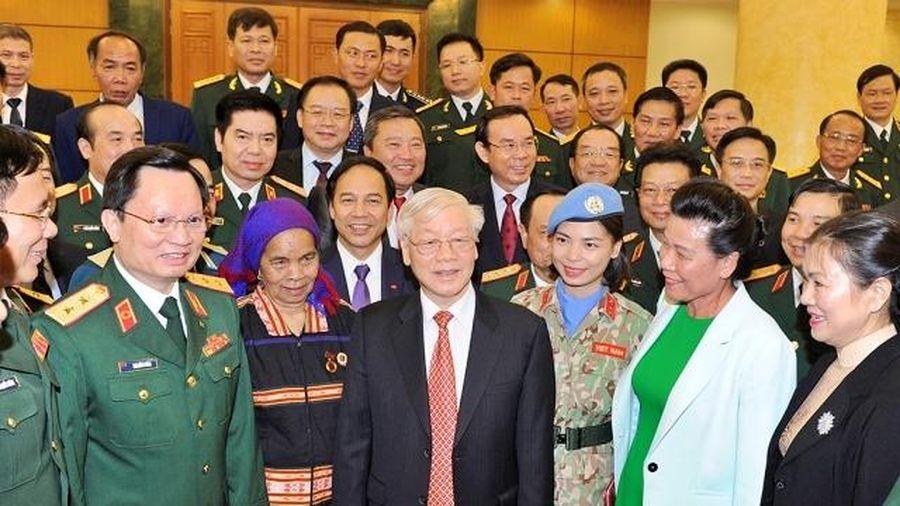Tổng Bí thư, Chủ tịch nước Nguyễn Phú Trọng gặp mặt các điển hình, tiên tiến trong xây dựng nền quốc phòng toàn dân vững mạnh