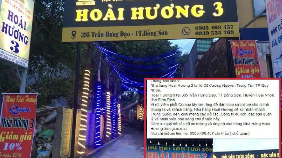 Sợ virus corona, chủ nhà hàng ở Bình Định từ chối nhận khách Trung Quốc