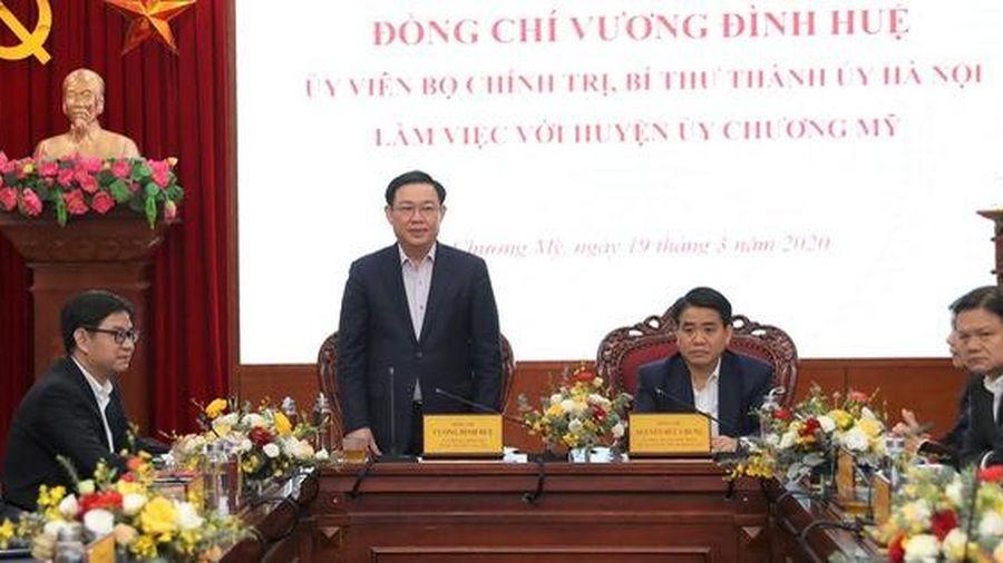 Bí thư Thành ủy Hà Nội: 'Huyện Chương Mỹ cần duy trì, thực hiện quyết liệt các giải pháp về phát triển kinh tế xã hội trong bối cảnh dịch bệnh diễn biến phức tạp'
