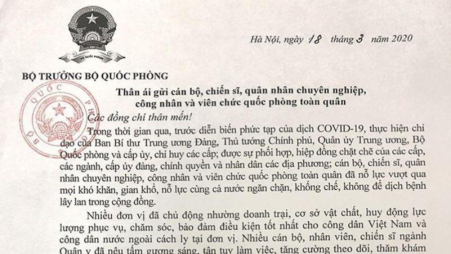 Bộ trưởng Quốc phòng gửi thư khen quân đội chống dịch COVID-19