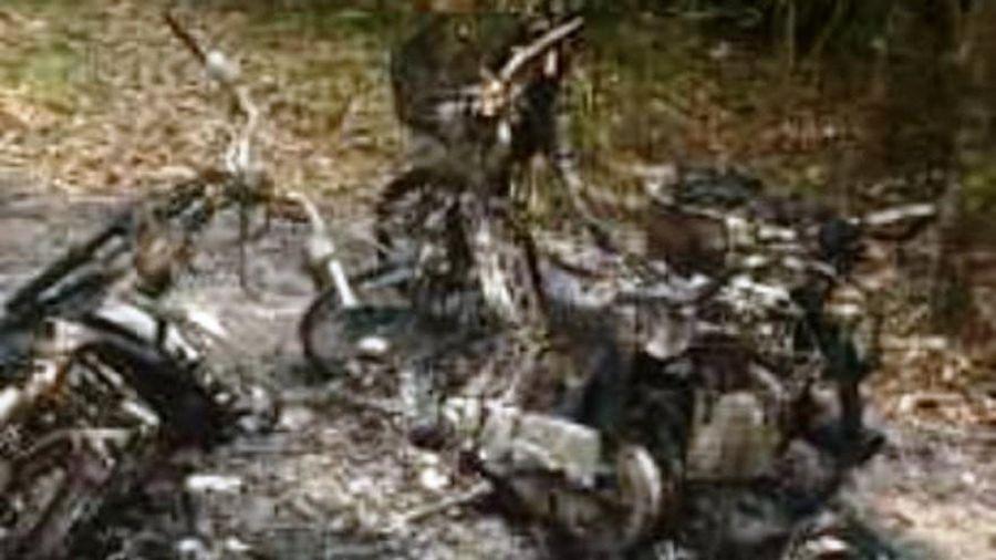 Tuần tra trở về, nhân viên bảo vệ rừng phát hiện 3 xe máy bị thiêu rụi