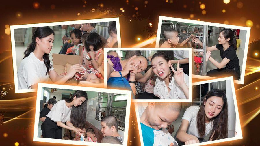 Tiểu Vy - Lương Thùy Linh - Thúy An - Tường San - Kiều Loan thăm và tặng quà trẻ em cơ nhỡ