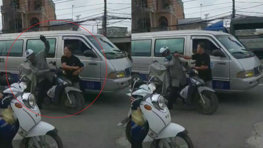 Tài xế ôtô đánh người đi xe máy sau va chạm
