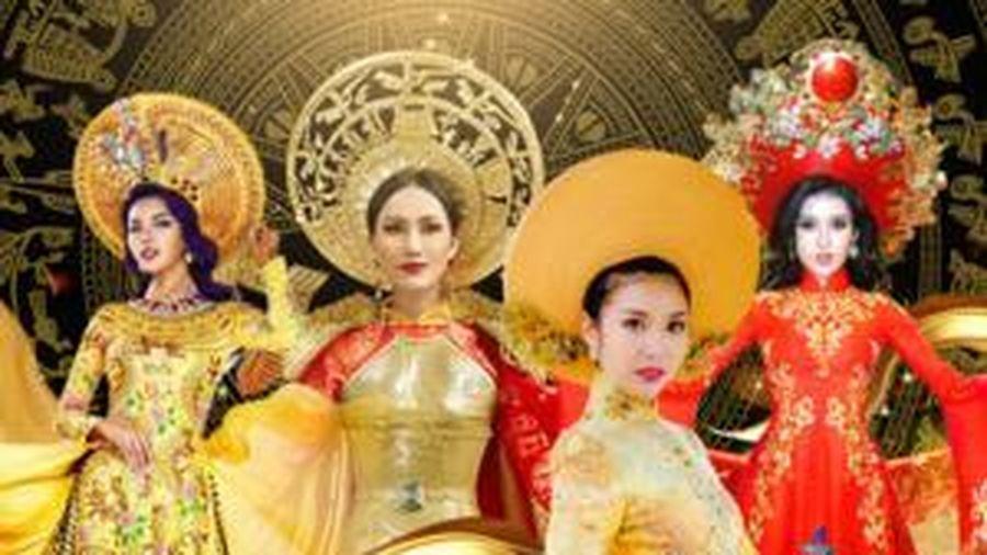 Khả Trang - Thúy Vân - Tường San đẹp rực rỡ, quyền lực với National Costume Nữ thần phương Đông
