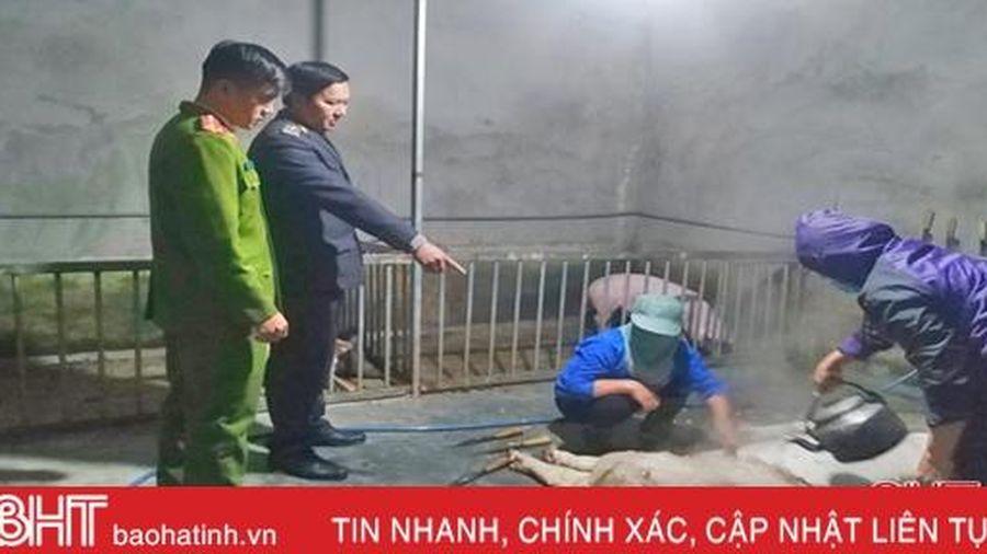 Phát hiện 55 kg thịt lợn 'bẩn' tại cơ sở giết mổ gia súc tập trung ở Lộc Hà