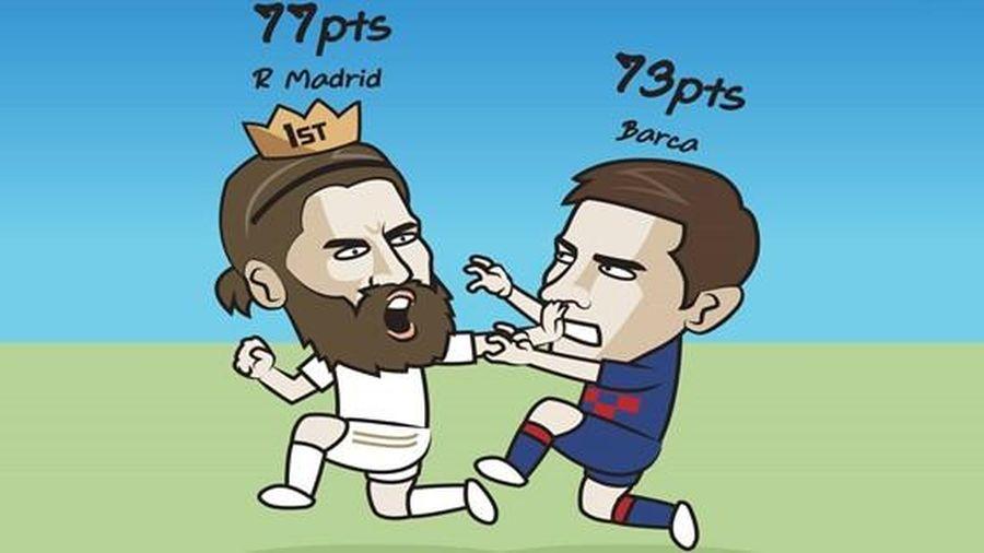 Biếm họa 24h: Lionel Messi bám đuổi Sergio Ramos trong vô vọng