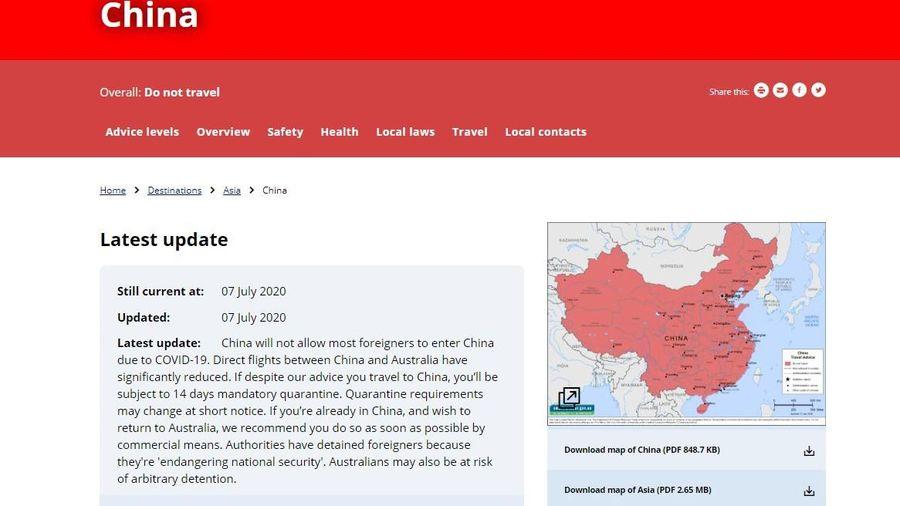 Australia cảnh báo người dân có thể bị giam giữ tại Trung Quốc