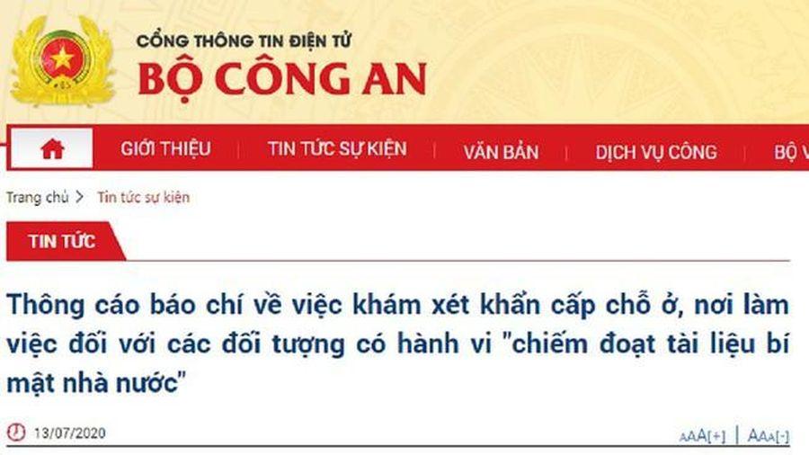 Khởi tố vụ án chiếm đoạt tài liệu bí mật Nhà nước ở TP Hà Nội