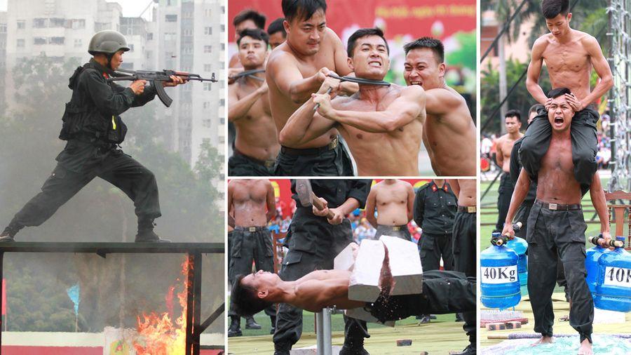 Những chiến sỹ công an 'mình đồng da sắt' phô diễn sức mạnh