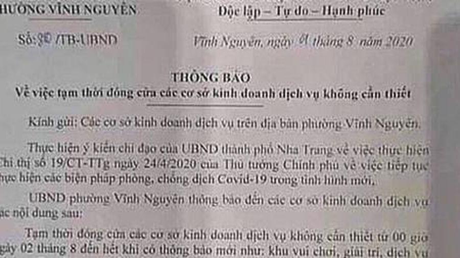 Thu hồi thông báo chưa đúng về phòng, chống COVID-19 của một phường