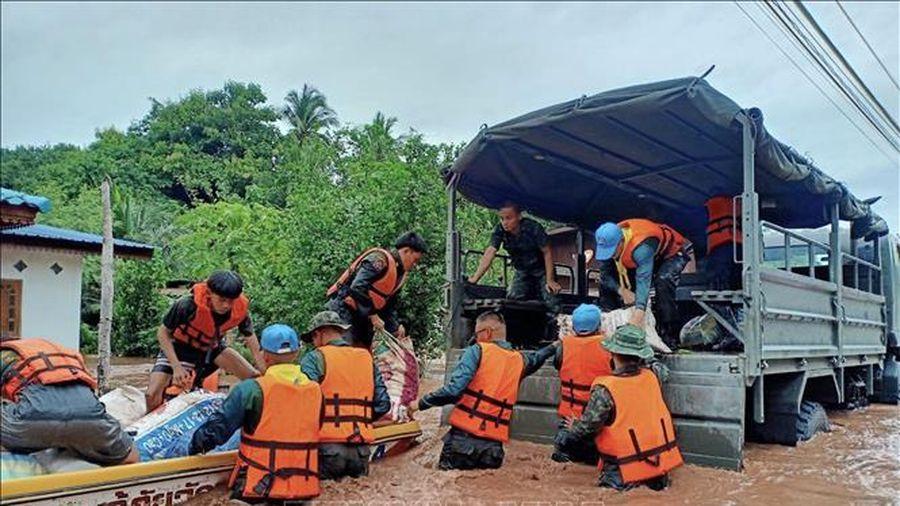 Mực nước sông Mekong tại Đông Bắc Thái Lan lên cao sau mưa lớn