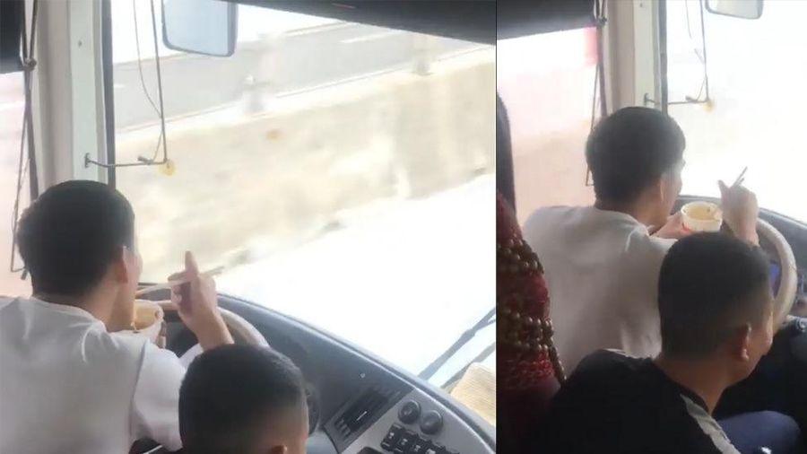 Xôn xao clip tài xế xe giường nằm vừa lái vừa ăn mì tôm