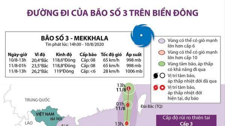 Đường đi của cơn bão số 3 trên Biển Đông