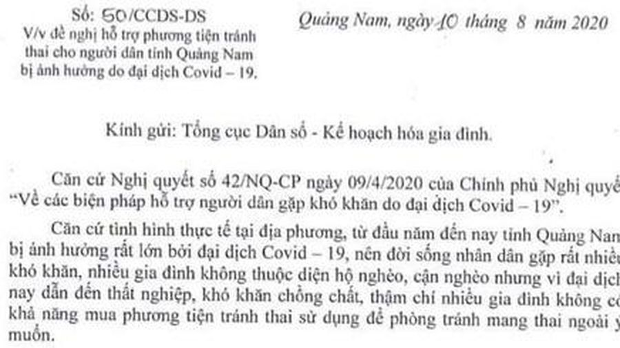 Quảng Nam xin hỗ trợ phương tiện tránh thai vì ảnh hưởng dịch Covid-19