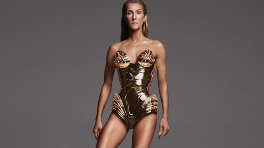 Dù thân hình gầy rộc, Diva Celine Dion lạnh lùng trong thiết kế bodysuit 'dát vàng'