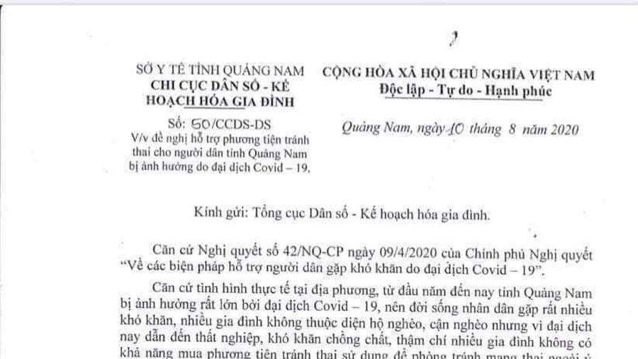 Quảng Nam xin hỗ trợ phương tiện tránh thai cho dân bị ảnh hưởng dịch COVID-19