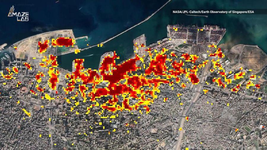 Bản đồ thiệt hại của vụ nổ Beirut từ hình ảnh vệ tinh NASA