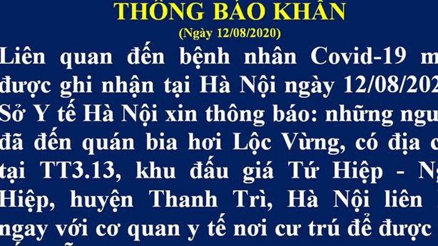 Hà Nội thông báo khẩn tìm người đến quán bia Lộc Vừng