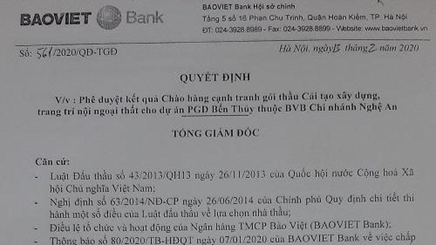 Ngân hàng TMCP Bảo Việt 'phớt lờ' quy định đấu thầu